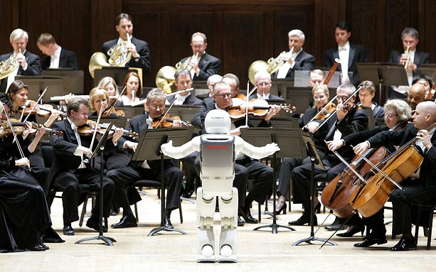 asimo robot conducts orchestra