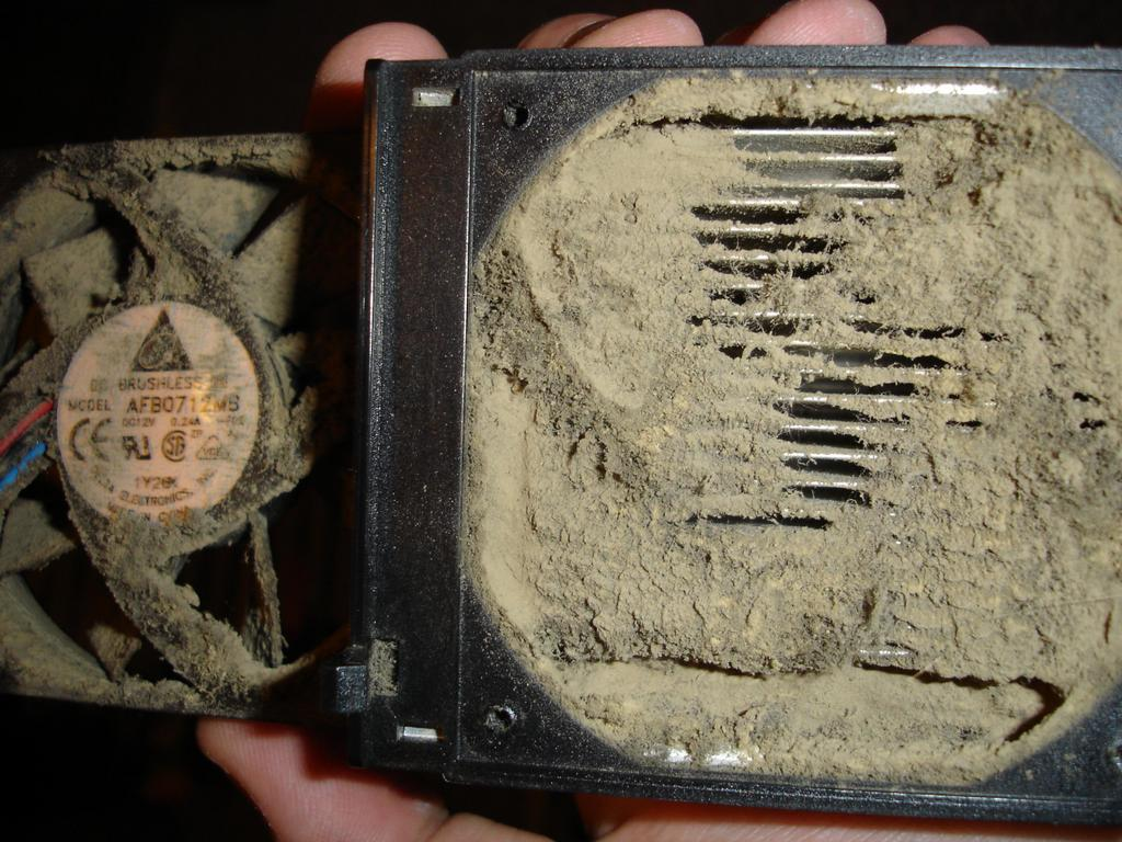 extremely dusty computer fan.