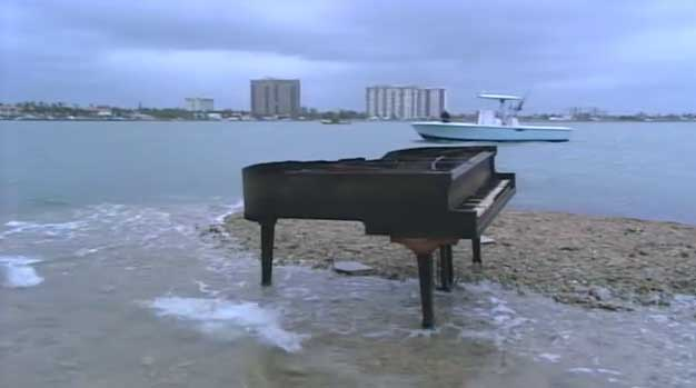 piano on Biscayne Bay sandbar